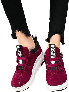 Mujer Zapatillas De Cordones Zapatos De Deportes Con Plataforma De Suela Gruesa De Correr Para Aire Libre Fitness Casual G...