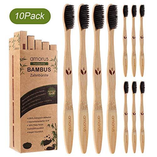 Bambus Zahnbürsten 10 Pcs 100% BPA freie Vegan Natur Bambus Holzzahnbürste mit umweltfreundlicher Packung des Papiers (10 Pcs) für weiße und gesunde Zähne