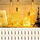 Olafus 24 Stück LED Flaschenlicht Batterie, 20 LEDs Lichterkette Kupferdraht batteriebetriebene Weinflasche Lichter mit Kork für außen/innen DIY Deko Party Hochzeit Stimmungslichter(Warmweiß)