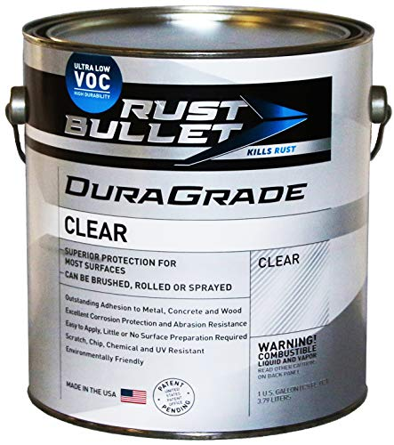 Rust Bullet DuraGrade Clear – High Performance Clear Coat for Concrete, Automotive, Wood and Metal Finishes, Impact Resistant, Ultra-Low VOC Clear Coating (Gallon)