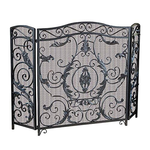 Best Deals! FF Fireplace Screens Wrought Iron 3 Panel Fire Screen, Baby Safe Vintage Solid 90cm Tall...