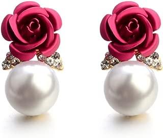 Paymenow Womens Girls Bohemia Earrings Fashion Summer Rose Pearl Circle Ear Clip Nice Jewelry