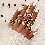 Aukmla Juego de anillos para nudillos bohemios de oro, apila