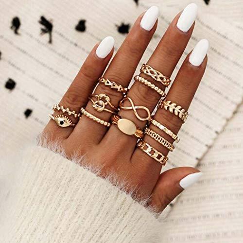 Aukmla Juego de anillos para nudillos bohemios de oro, apilables, anillos para dedos de tamaño medio, para mujeres y niñas, 13 unidades
