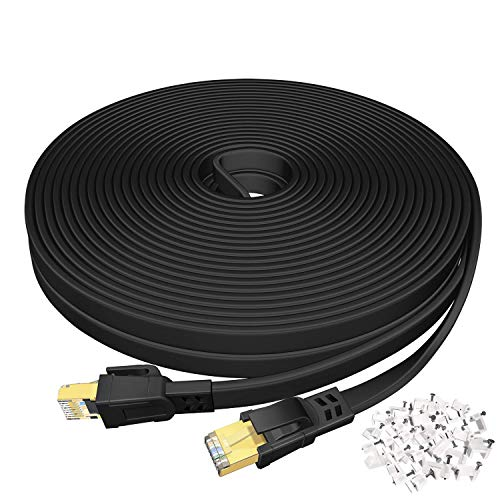 Cat 8 Ethernet Cable 20 FT, High Speed Flat Network Cable Shielded, DEEGO 40Gbps 2000MHz LAN Ethernet Cable U/FTP 30AWG with Gold Plated RJ45 Connector for Gaming, Router, Modem, PC, PS4, PS5
