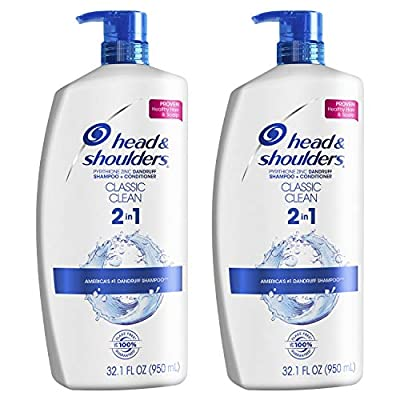 Head and Shoulders Shampoo and Conditioner 2 in 1, Anti Dandruff Treatment and Scalp Care, Classic Clean, 32.1 fl oz, Twin Pack from Procter Gamble - Haba Hub