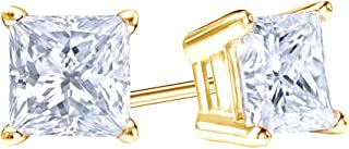 Princess Cut Simulated White Sapphire Solitaire Stud Earrings In 14K Solid Gold
