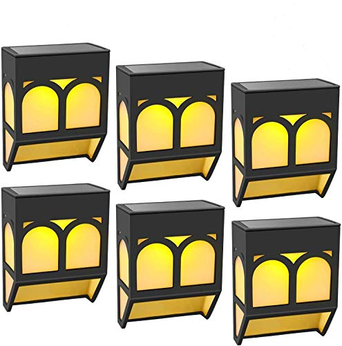 Solar Lights Outdoor Decorative Waterproof LED Deck Lights Fence Solar Powered Step Lights for Front Door,Back Yard,Railing,Warm/Color Changing 6 Pack
