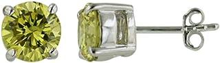 تيسورو 925 الفضة الاسترليني الصلبة مكعب زركونيا أقراط مسمار أخضر فاتح 4 مم - مجوهرات للرجال والنساء