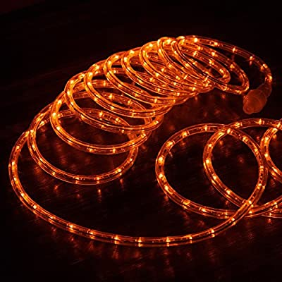 "West Ivory 3/8"" Orange LED Rope Lights 2 Wire Accent Holiday Christmas Party Decoration Lighting (10', 25', 60', 150' ft Option)