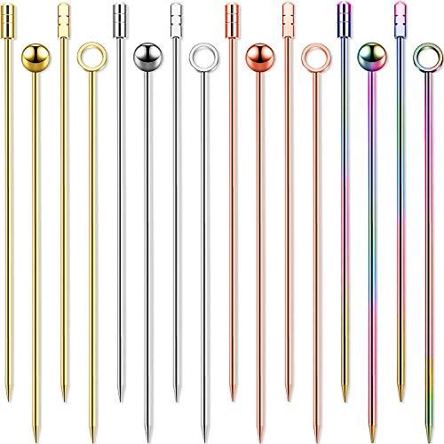 Edelstahl Cocktail Picks Mehrfarbige Früchte Zahnstocher Bunte Vorspeise Trinken Sticks für Bar Party, Grillen Snacks (Silber, Rose Gold, Gold, Bunt, 16)