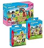Geobra Brandstätter Playmobil 70294 - Juego de 3 establo de caballo y poni, diseño de jinete, 9356 granja con ovejas y 70155 niños con ternera