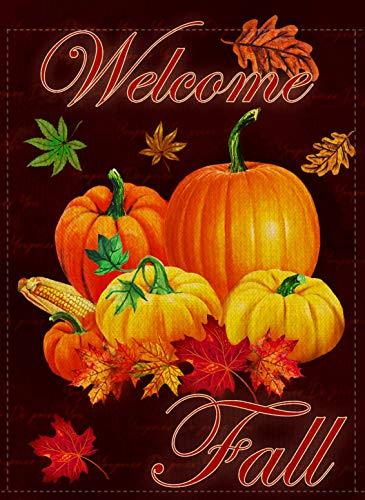 Dyrenson Happy Fall Yall Quote Garden Flag Double Sided, Home Decorative Autumn House Yard Flag, Rustic Harvest Pumpkin Yard Decorations, Maple Leaf Corn Vintage Seasonal Outdoor Flag 12 x 18