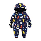 Baby Snowsuit Infant Hooded Romper Winter Jumpsuit Zipper Front (18-24 Months)