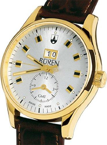 BÜREN 301028–Armbanduhr Herren, Lederband braun