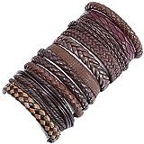 10 unids / set pulseras de cuero para hombre tejidas hechas a mano para mujer, brazaletes para mujer, hombre, hombre