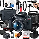 Canon EOS Rebel T7 DSLR Camera with 18-55mm Zoom Lens + Platinum Mobile Accessory Bundle Package Includes: SanDisk 64GB Card, Tripod, Case, Pistol Grip and More (21pc Bundle)