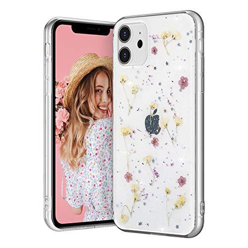 EYZUTAK Carcasa para iPhone 11 de 6.1 pulgadas, diseño de flores secas y brillantes, a prueba de golpes, silicona transparente, diseño floral, color morado