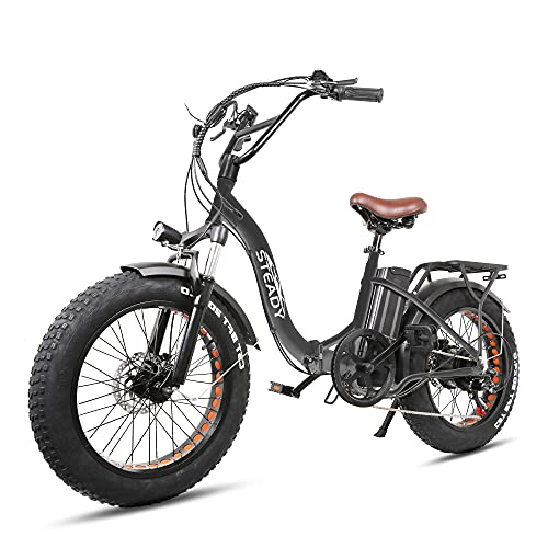 Nakto 20'' Folding Electric Bike for Adult, 4.0'' Fat Tire Ebike with 500W Motor, 48V/12.5 Ah Removable Battery, Snow, Beach, Mountain Hybrid Ebike |Dual Disc Brakes| Puncture Resistant (Black)