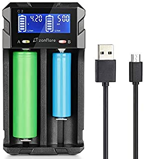 LCD Display Speedy Universal Battery Charger USB Battery Charger, Zanflare C2 Smart Charger Quick Charge for Rechargeable Batteries Ni-MH Ni-Cd A AA AAA SC, Li-ion 18650 26650 26500 22650 18490 17670