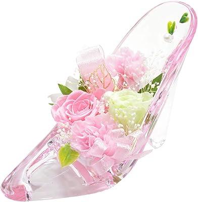 florence du プリザーブドフラワー バラ・カーネーションハイヒールアレンジメント ピンク 母の日 ギフト ガラスの靴 花 フラワーギフト 結婚 誕生日 シンデレラ プリンセス プロポーズ ブリザードフラワー プレゼント