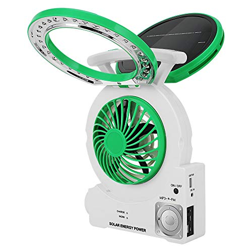 Multi-Function Solar Fan with Radio/MP3/Table Lamp/Torch/Cell Phone Charging Portable Emergency Outdoor Electric Fan for Camping Fishing and Hurricane (Green)