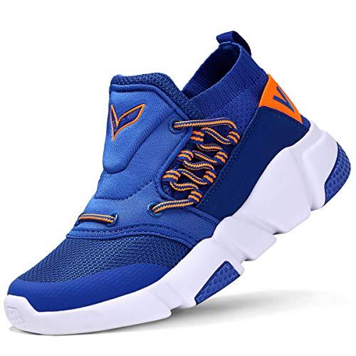 VITIKE Kinder Schuhe Jungen Schuhe Mädchen Sneaker Damen Sportschuhe Outdoor Schuhe Jungen Turnschuhe Laufschuhe Schnürer Freizeit Sportschuhe Kinder Sneaker, 2-blau, 35 EU