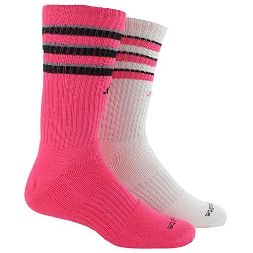 adidas Youth Boys Team 2-Pack Crew Socks, Solar Pink/Black/Light Onix/White, Medium