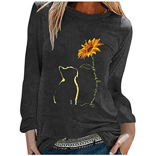 Lazzboy Store T-Shirt Katze Sonnenblume Damen Frauen Herbst Tops Lose Weiche Langarm Bluse Sweatshirt Langarmshirt Pulli Basic Rundhals-Ausschnitt Sport Pullover (Schwarz,L)