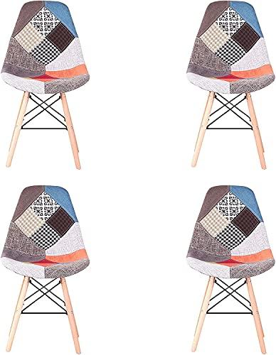GrandCA Home Chaises Patchwork-Ensemble 4 Chaises Chaises de Salle à Manger Chaises Loisirs Salon Chaises avec Dossier à Coussin Souple (Rouge)