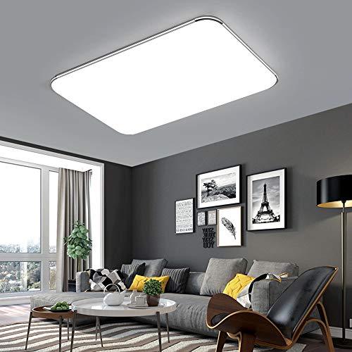 64W LED Deckenleuchten Ultra dünn Deckenlampe Energiespar Licht Moderner minimalistischer Stil-Silberrahmen(Kaltweiß,6000-6500K)