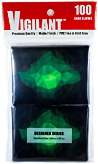 Vigilant Card Sleeves, 100 Count, Standard Size, Designer Art Print - Non Glossy (Emerald 2.0)