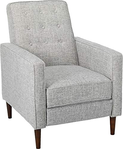Christopher Knight Home Mervynn Mid-Century Modern Fabric Recliner, Light Grey Tweed