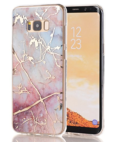 Galaxy S8 Case,Samsung Galaxy S8 Case,Spevert Marble Pattern Hybrid Hard Back Soft TPU Raised Edge Ultra-Thin Shock Absorption Scratch Proof Slim Protective Case for Samsung Galaxy S8 - Colorful