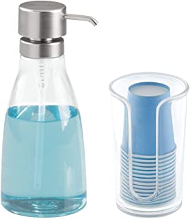 mDesign Modern Plastic Mouthwash Pump and Disposable Cup Holder - Compact Storage Organizer for Bathroom Vanity, Countertop, Cupboard, Includes 14 Paper Cups - Set of 2 - Clear/Brushed