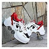 HANHJ Rodillo Skate Bignner Zapatillas Deporte 2in1 Zapatos Multiusos Zapatos con Ruedas Zapatos Patinaje En Línea Ajustable Patinador Patín,White Low Top02-39