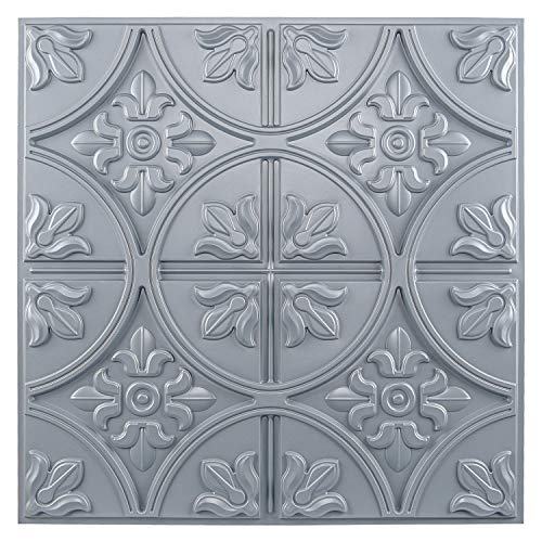 Art3d Drop Ceiling Tiles 2x2, Glue-up Ceiling Panel, Fancy Classic Style in Gray