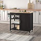 BELLEZE Kitchen Island Cart On Wheels Rolling Kitchen Cart With Storage Cabinet & Wooden Worktop, Black