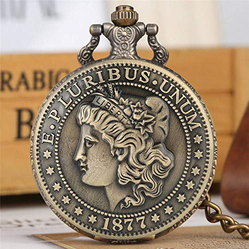 YHWW Montre de Poche Quartz Montre de Poche épais chaîne rétro en Bronze Pendentif Montres américaine Morgan Coin Demi - Dollar Coin Collection Cadeaux, 30cm Porte - clés