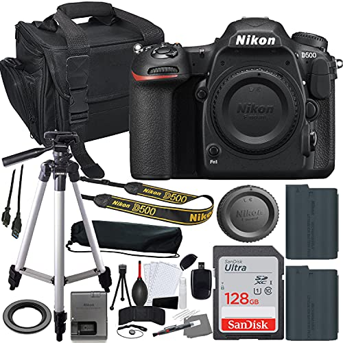 Nikon D500 DSLR Camera (1559) Body Only Bundle + Accessory Kit inlcuding 128GB Memory, Extra Battery, Camera Case & More