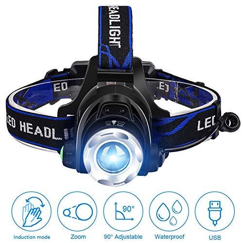 Stirnlampe LED Wiederaufladbar Kopflampe Zoom USB Wiederaufladbare Wasserdicht Leichtgewichts Stirnleuchte mit 2 Stück 18650 Akkus für Joggen, Laufen, Campen, Angeln
