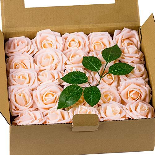 Loveinside 50Pcs Künstliche Blumen Roese - Echt Aussehende Gefälschte Rosen, Für Diy Bouquets, Hochzeit Home Party Dekorationen