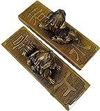 JANEFLY Escultura de león de Buena Suerte, Manualidades de decoración del hogar, un par de estatuas de león sólido de Feng Shui de latón, mención de la Mano, gobernante de la Ciudad, Suministros de