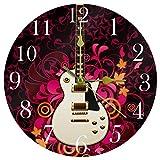 TIKISMILE Reloj de pared para guitarra eléctrica, silencioso, no hace tictac, acrílico, decorativo, redondo, para oficina, escuela, sala de estar, dormitorio, decoración del hogar