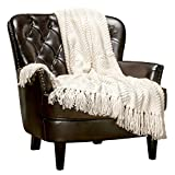 Chanasya Textured Knitted Super Soft Throw Blanket with Tassels - Warm Fluffy Cozy Plush Knit - for Fall Couch Bed Sofa Living Room Framhouse Boho Off White Accent Decor (50x65 Inches) Cream Blanket