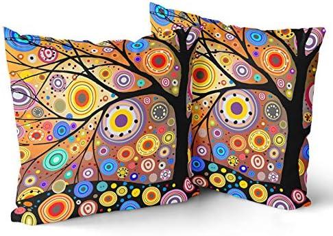 Granbey Colorful Painting Trees European Square 2pcs Fashion Home Decor Pillowcase Love Tree product image