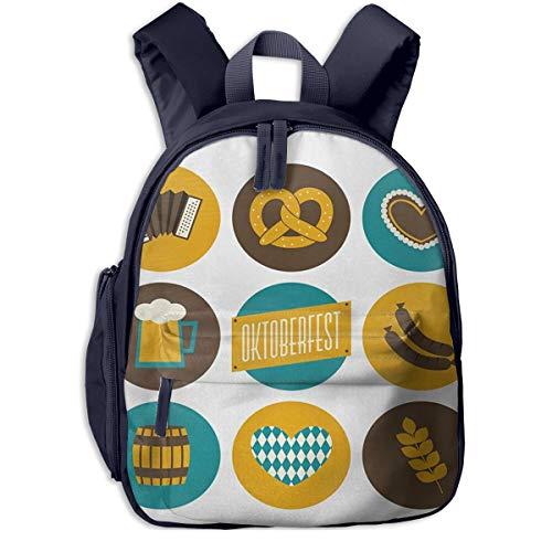Kinderrucksack Oktoberfest Brezel Bier Akkordeon Babyrucksack Süßer Schultasche für Kinder 2-6 Jahre