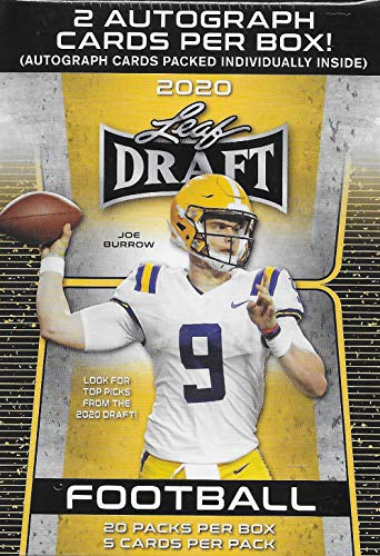 2020 LEAF NFL DRAFT Football Series Factory Sealed Blaster Box with 2 Autographed Cards and a Chance for Joe Burrow, Tua Tagovailoa, Jalen Hurts and Other Rookies