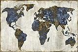 Mapa exquisito moderno Mapa del mundo impermeable Mapa de lona impermeable Impresión a gran escala Mapa del mundo Mapa muy espectacular e impactante Decoración del hogar-60x90cm_HZ13124