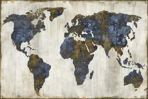 Mapa exquisito moderno Mapa del mundo impermeable Mapa de lona impermeable Impresión a gran escala Mapa del mundo Mapa muy espectacular e impactante Decoración del hogar-20x30cm_HZ13124